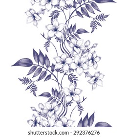 Vector seamless background. Jasmine flowers.Design for fabrics, textiles, paper, wallpaper, web. Vintage. Floral ornament. Black and white.