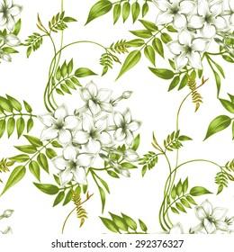 Vector seamless background. Jasmine flowers.Design for fabrics, textiles, paper, wallpaper, web. Vintage. Floral ornament.