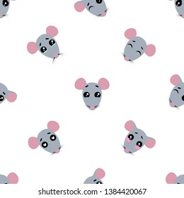 Vector seamless background. Kawai rat on the white background, cartoon rat.