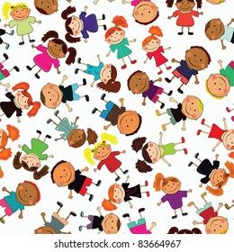 vector seamless background with kids.