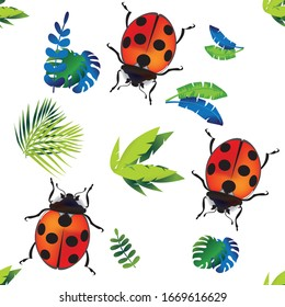 Vector seamless background with ladybugs and colorful leaves. For design cards and fabrics.