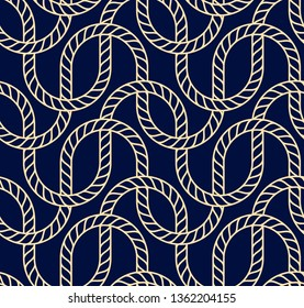 Vector seamless background with marine rope. Nautic pattern dark blue and gold for wallpapers, textile, packaging, design of luxury products - Vector Illustration
