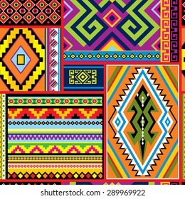 vector seamless background with mexican design elements and ornament