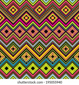 vector seamless  background with Mexican zigzag  geometric patterns