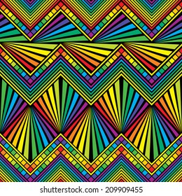 vector seamless  background with Mexican zigzag  rainbow color patterns