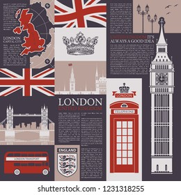 Vector seamless background on the theme of the UK and London with magazine publications, architectural landmarks, British symbols and flag in retro style. Can be used as Wallpaper or wrapping paper