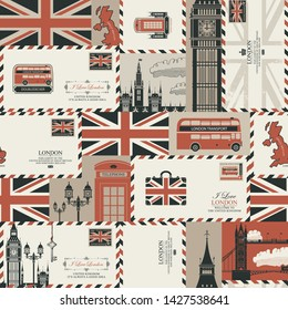 Vector seamless Background on UK and London theme with envelopes, British symbols, architectural landmarks and flag of the United Kingdom in retro style. Can be used as wallpaper or wrapping paper
