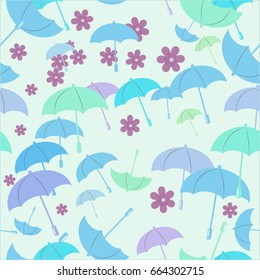 Vector seamless background in pastel colors,Umbrellas, flowers