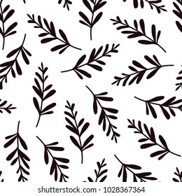vector seamless background pattern with hand drawn tiny leaves