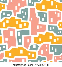 vector seamless background patterns in Scandinavian style,cartoon cute houses  and elements for fabric design, wrapping paper, notebooks covers