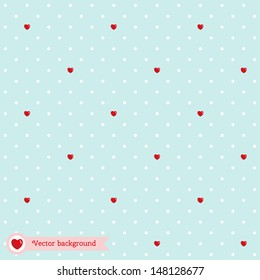Vector seamless background with polka dots and hearts. Wedding or Valentine's Day.