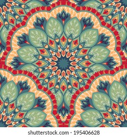 Vector seamless background with a round ornament. Beautiful floral pattern in vintage oriental style.