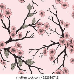 Vector seamless background with sakura blossoms and folliage. Black white eps outlined illustration. Eps-8.