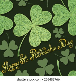 Vector Seamless Background for St. Patrick's Day, Leaf Clover with Inscription. Hand Drawing Patterned Design