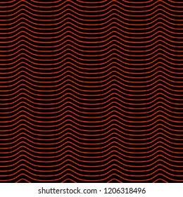 Vector seamless background for the substrate, textile, curtain design of wavy black and red narrow stripes with elements of illusion