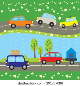 Vector  seamless  background. Summer. Cars, river, flowers, trees. Part 2 of 2 compatible patterns