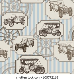 Vector seamless background with vintage cars and wheels