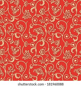 Vector seamless background with vintage floral elements.
