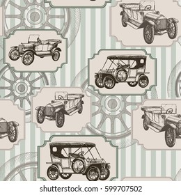 Vector seamless background with vintage retro cars and wheels. Perfect for textiles, wallpaper and prints.