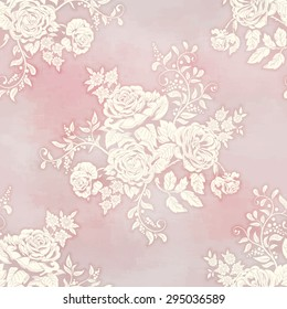 Vector seamless background in vintage style. Silhouette of a bouquet victorian garden roses on watercolor backdrop. Hand drawing