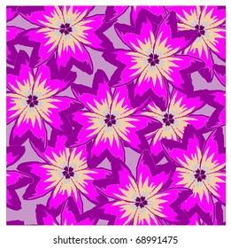vector seamless background with violet poppies. clipping mask