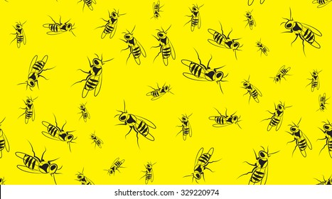 Vector seamless background of wasps. Chaotic wasps.
