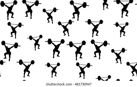 Vector seamless background of weightlifters