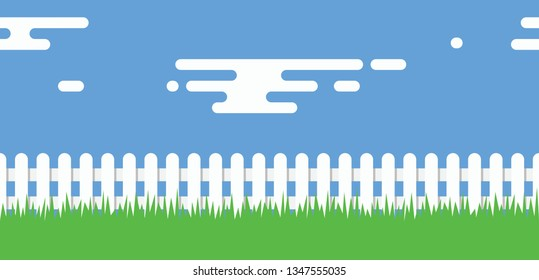 vector seamless background of white picket fence boundary, green grass, blue sky and clouds. rural illustration with wooden picket fence