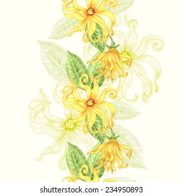 Vector seamless background. Ylang ylang. Design for fabrics, textiles, paper, wallpaper, web.  Retro. Vintage style. Floral ornament.