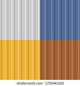 Vector seamless backgrounds of corrugated metal profiled panel. Aluminum fence. Wall panels textures. Galvanized steel wall plate. Vertical lines pattern.