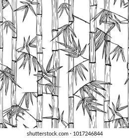 Vector seamless bamboo forest pattern. Black and white hand drawn sketch background. Design for fashion textile print, asian spa and massage, cosmetics package, furniture materials.