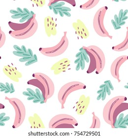 Vector seamless banana pattern in trendy color palette