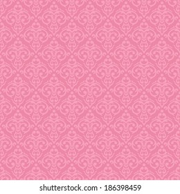 Vector seamless baroque damask luxury pink background
