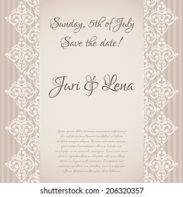 Vector seamless baroque damask luxury invitation