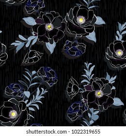 Vector seamless beautiful artistic Blooming flowers pattern with botanic garden with texture. Line original stylish floral background print, bright colors on black.