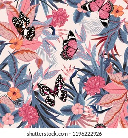 vector seamless beautiful artistic bright tropical pattern with exotic forest. Colorful original stylish floral background print, bright rainbow colors on light pink