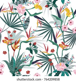 vector seamless beautiful artistic bright tropical pattern with exotic forest. Colorful original stylish floral background print, bright rainbow colors on white