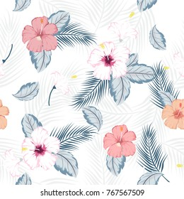 vector seamless beautiful artistic bright tropical pattern with exotic forest. Colorful original stylish floral background print, bright .on white background.
