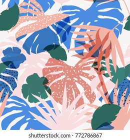 vector seamless beautiful artistic colorful silhouette tropical pattern with exotic forest. Multicolor leaves original stylish floral background print, bright flower on light grey.