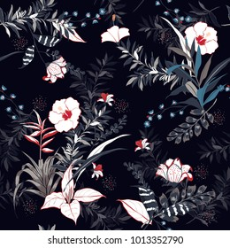 vector seamless beautiful artistic dark tropical pattern with exotic forest. Colorful original stylish floral background print, bright rainbow colors on dark navy blue