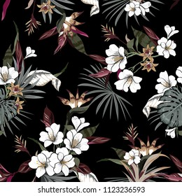 Vector seamless beautiful artistic dark tropical pattern with exotic forest original stylish floral background print, exotic on black