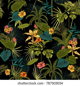 vector seamless beautiful artistic dark tropical pattern with exotic forest. Colorful original stylish floral background print, bright rainbow colors on black