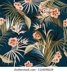 vector seamless beautiful artistic darkt tropical pattern with exotic forest. Colorful original stylish floral background print, bright flower on navy blue.