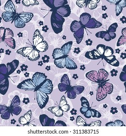 vector seamless beautiful artistic gentle flying butterflies with minimalistic flowers pattern. spring summer time. nature in bloom.