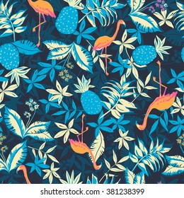 vector seamless beautiful artistic graphical tropical pattern, colorful summer rain forest nature, philodendron, split leaf, banana leaf, fern frond, flamingo bird, pineapple fruit, stylish tropics