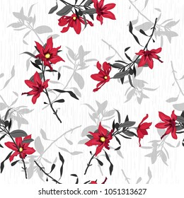 Vector seamless beautiful artistic red  Blooming flowers pattern botanic garden with texture. Line original stylish floral background print, bright colors on white