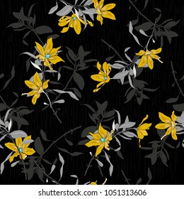 Vector seamless beautiful artistic yellow  Blooming flowers pattern Dark botanic garden with texture. Line original stylish floral background print, bright colors on black