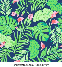 vector seamless beautiful bright colorful tropical pattern with flowers, philodendron, split leaf, leaves, leaf, rain forest nature, flora modern stylish active summer mood background print