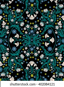 vector seamless beautiful gentle symmetrical romantic floral fractal foliage pattern with little flowers, cornflower, lily, daisy, leaves. exquisite background allover print in Art Nouveau style