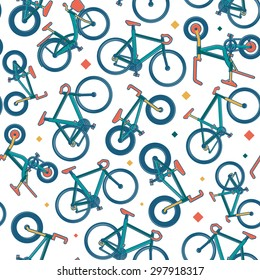 Vector seamless bicycle color themed pattern with citybike, folding, road, mountain, BMX, hybrid bikes with borders